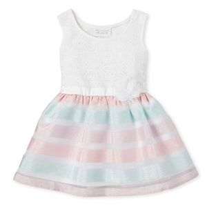 NWT • Childrens Place Lace & Ribbon Striped Dress